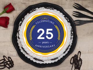 Round-Shaped 25th Anniversary Poster Cake