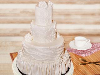 Ivory Fondant Cake for Anniversary