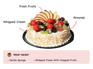 Fresh Fruit Cake with ingredients