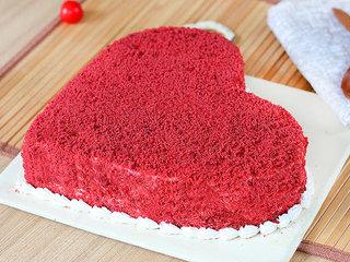 Side View of Heart Shaped Red Velvet Cake