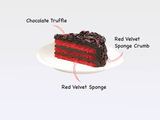Sliced View of Red Velvet Chocolate Cake with ingredients