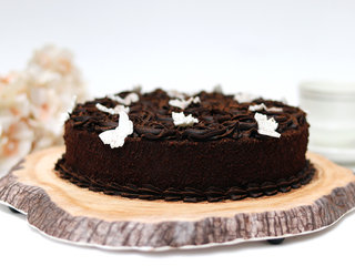Side view of Round Chocolate Truffle Cake