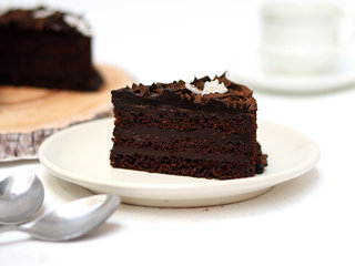 Sliced View of Round Chocolate Truffle Cake