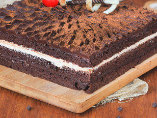Zoomed View of Delicious choco coffee cake