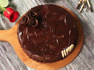 Top View of Belgian Chocolate Cake