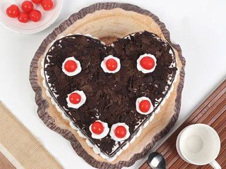 Top View of Black Forest Heart Cake