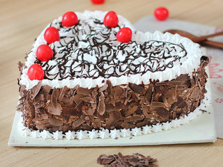 Side View of Heart Shaped Black Forest Delight Cake