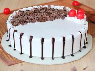 Side View of Round Black Forest Cake
