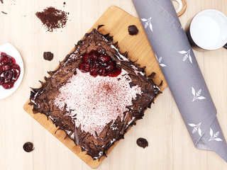 Top View of Black Forest Vegan Cake in Noida
