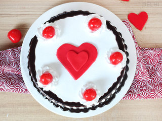 Top View of Black Forest with Heart Cake