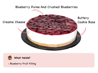 Blueberry Cheese Cake with ingredients