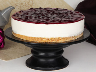 Side View of Decadent Blueberry Cheesecake