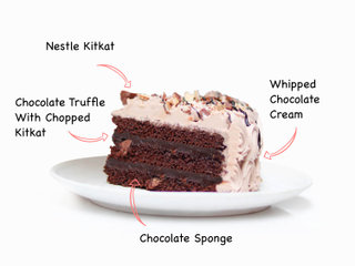 Sliced View of Chocolate And Caramel Cake with ingredients