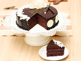 Sliced View of Chocolate Truffle Cake