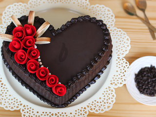 Heart Shaped Choco Truffle Cake For An Intern Last Day