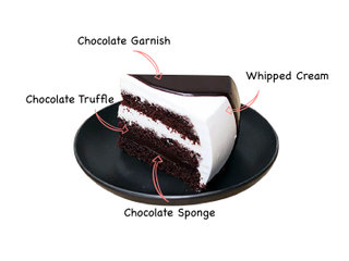Sliced View of Vanilla Chocolate Cake with ingredients