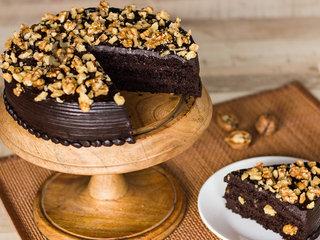 Sliced View of Chocolate Nut Cake