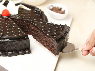 Delectable Truffle - Round Chocolate Truffle Cake with ingredients