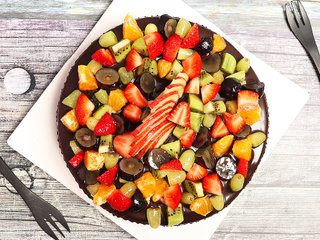 Top View of Chocolate Truffle Fruit Cake