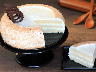 Sliced View of Round shaped coconut cake