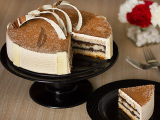 Sliced View of Round Decadent Coffee Cake