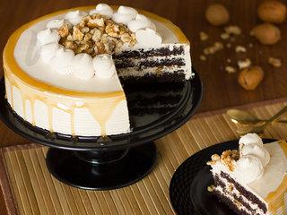 Sliced View of Coffee Walnut Cake