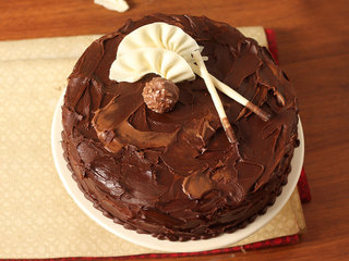 Top View of Couverture Hazelnut Chocolate Cake
