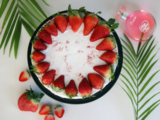 Top View of Delicious Strawberry Cake
