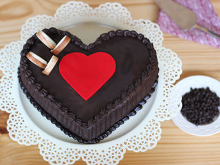 Top View of Double Heart Choco Truffle Cake
