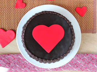 Top View of Fondant Heart Truffle Cake