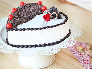 Side View of Heart Shaped Black Forest Vanilla Cake