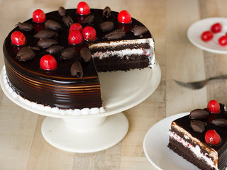 Sliced view of German Gateau - German Black Forest Cake