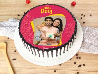 Happy Bhai Dooj Photo Cake