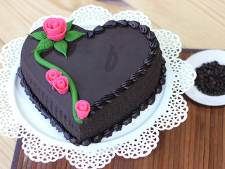 Zoomed View of Heart Shape Chocolate Cake