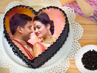 Heart Shaped Photo Cake for Couple