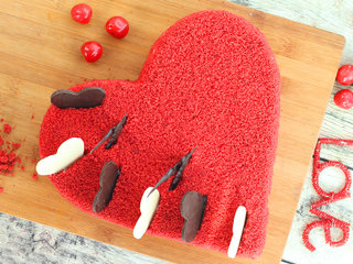 Top View of Heart Shaped Red Velvet Cake