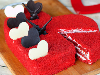 Sliced View of Heart Shaped Red Velvet Cake