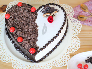 Top View of Heart Shaped Black Forest Vanilla Cake