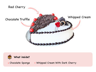 Side View of Heart Shaped Black Forest Vanilla Cake with ingredients