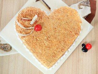 Top View of Heart Shaped Butterscotch Cake