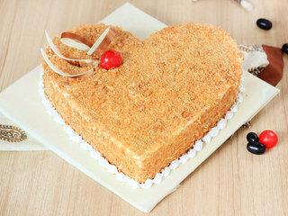 Heart Shaped Butterscotch Cake in Delhi