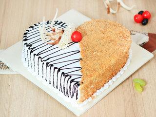 Heart Shaped Butterscotch Vanilla Cake