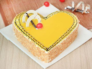 Send Creamy Heart Shaped Butterscotch Cake in Hyderabad