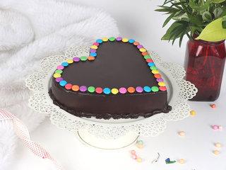 Side View of Heart Choco Gems Cake