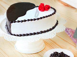 Side View of Heart-Shaped Choco Vanilla Cake
