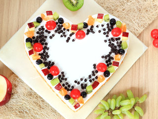 Top View of Heart Shaped Fruit Cake