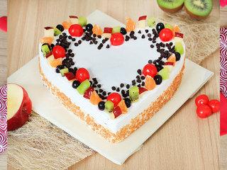 Fruit-Eat Up - Heart Shaped Fruit Cake in Delhi