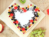 Top View of A Beautiful Pair Up - Heart Shaped Fruit Cake in Ghaziabad