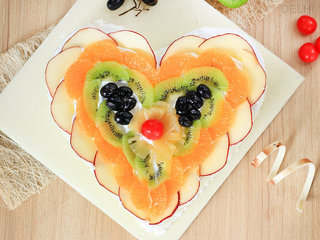 Top View of Magic Of Fruits - Heart Shaped Fruit Cake