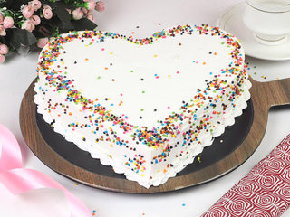 Top view of Heart Sprinkle Cake